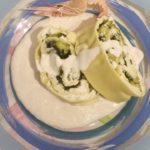 Rotolo ricotta e zucchine con crema di scampi